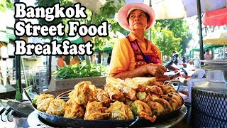 Thai Street Food in Bangkok: Breakfast at a Street Food Market in Bangkok Thailand.