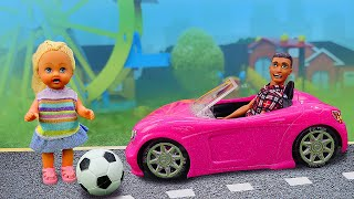 Видео про куклы. Игры в дочки матери. Куклы Барби и Штеффи на улице - авария! Игры в больницу