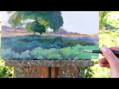 Oil painting a morning landscape, by Trent Gudmundsen
