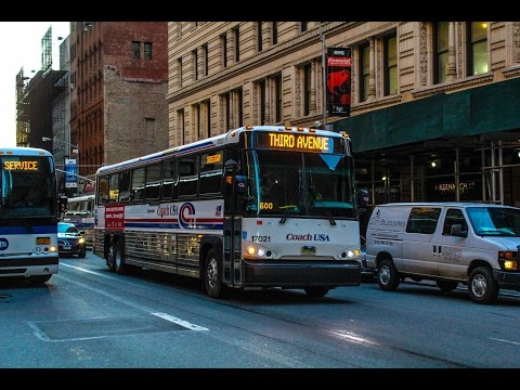 PM Rush Hour Commuter Buses in Lower Manhattan (MTA, Academy, Coach USA, Lakeland & NJT)