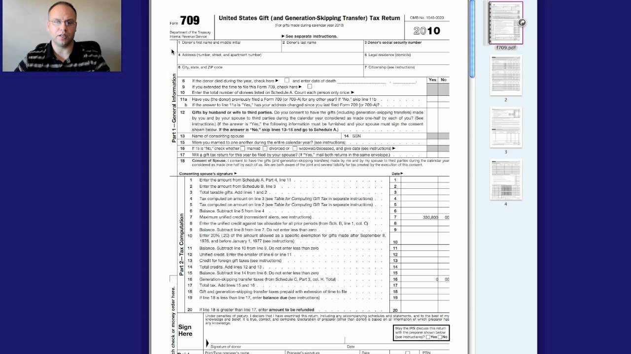 Gift Tax Return Form 709 Instructions Youtube