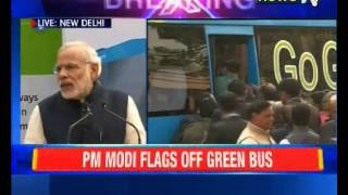 "PM Modi flags off Green bus(PM Narendra Modi flagged off green (lithium-ion powered) bus for parliamentarians today. He said, ""This is a 'Make In India' initiative. India is setting example ..., 2015-12-21T09:25:30.000Z)"