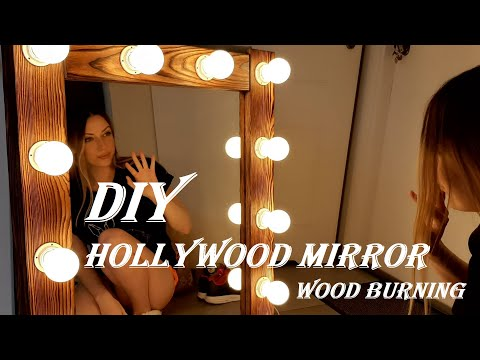 Amazing  DIY Hollywood Vanity Mirror With Lights. Woodworking. Wood Burning
