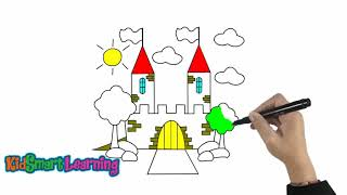 Drawing and coloring Castles for kids with KidsSmart Learning