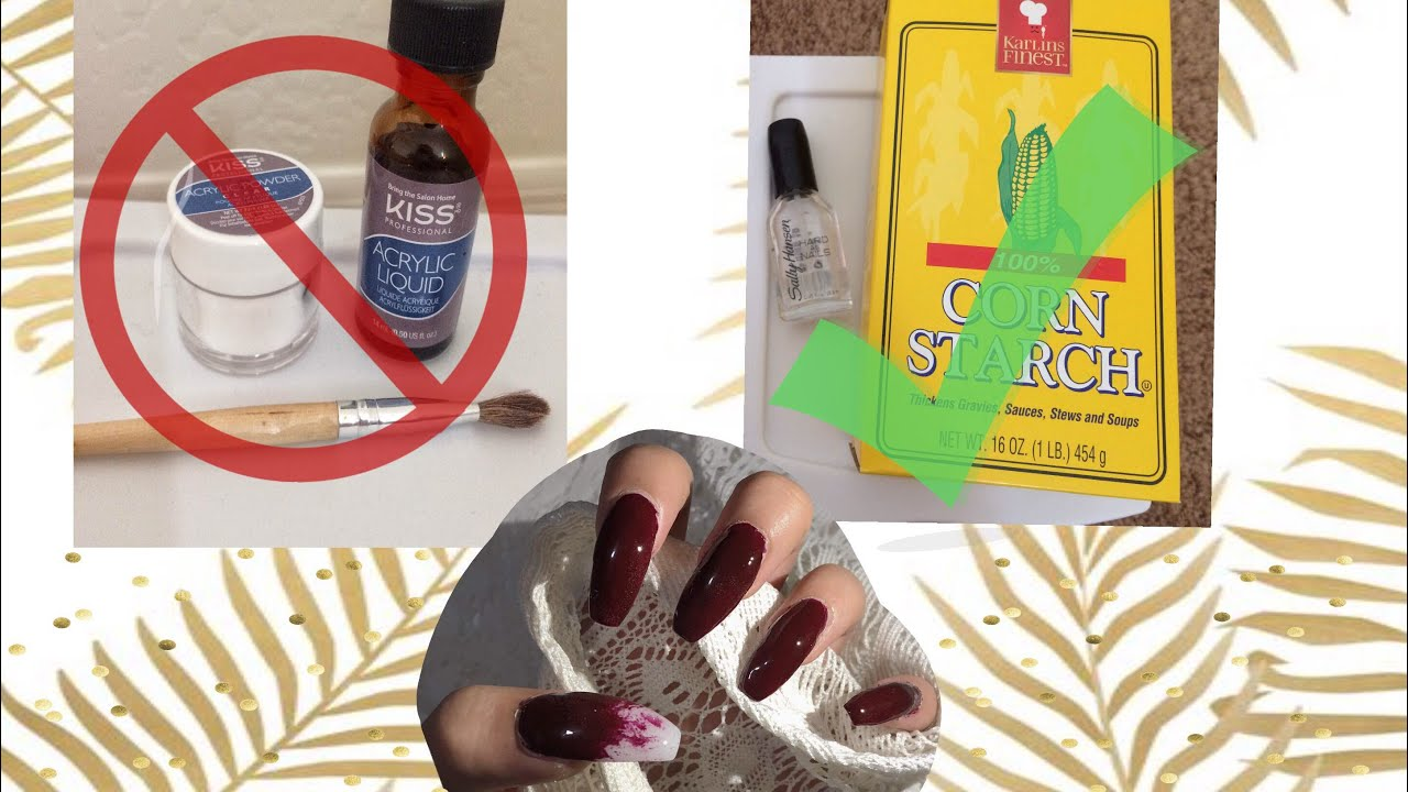 DIY CORNSTARCH NAILS cheap and easy💅🏼✅no acrylic needed |Alexis ...