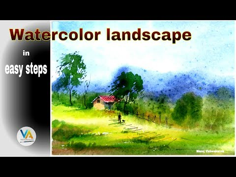 Watercolor demonstration- How to paint a simple landscape in wash watercolor