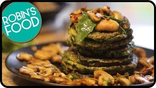 Vegan Spinach Pancakes With Mushrooms