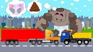 Trucks and Street Vehicles | Police-Car with Excavator-Hero - What Clothes? Stroje i Maszyny Bajki