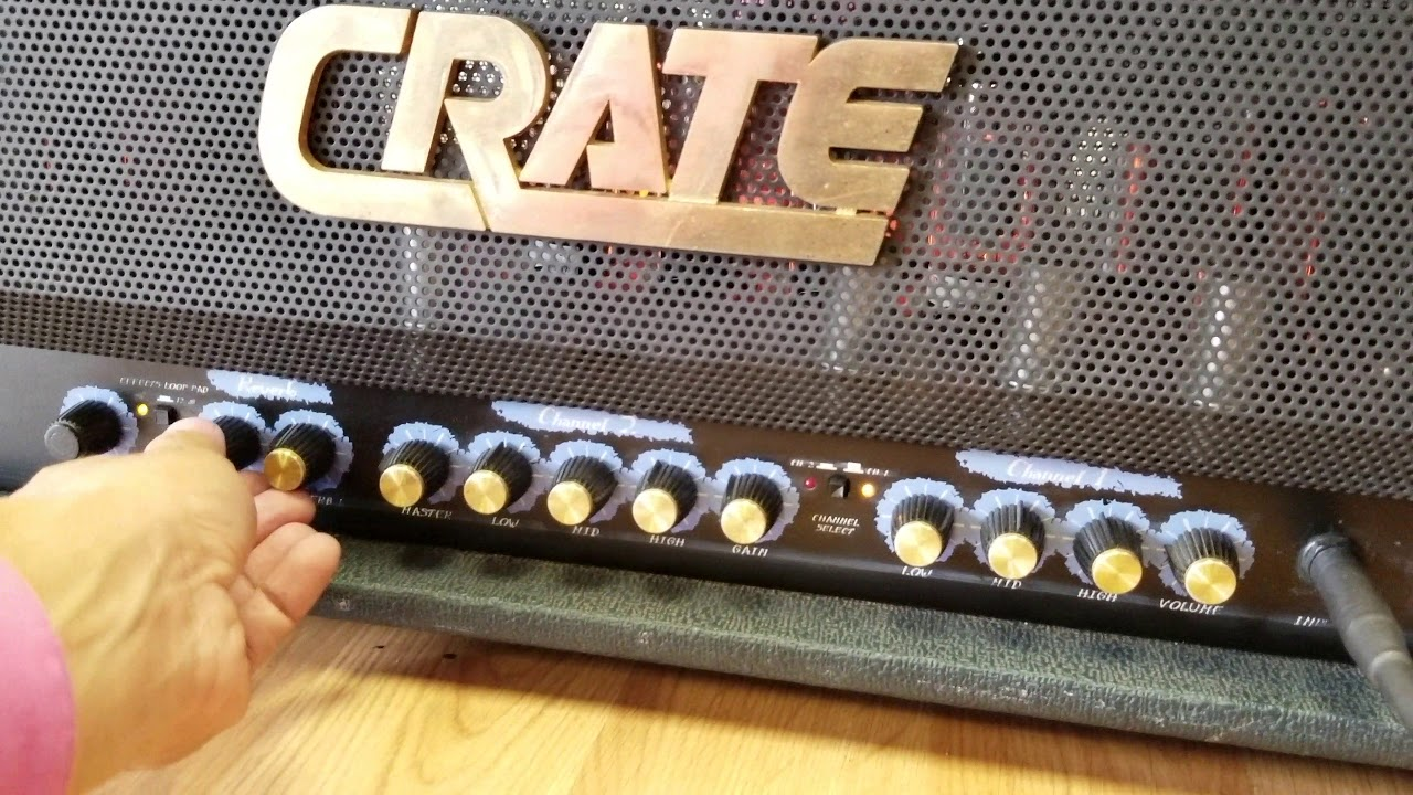 Crate blue voodoo BV120 tube head amp demoing for Ebay sale