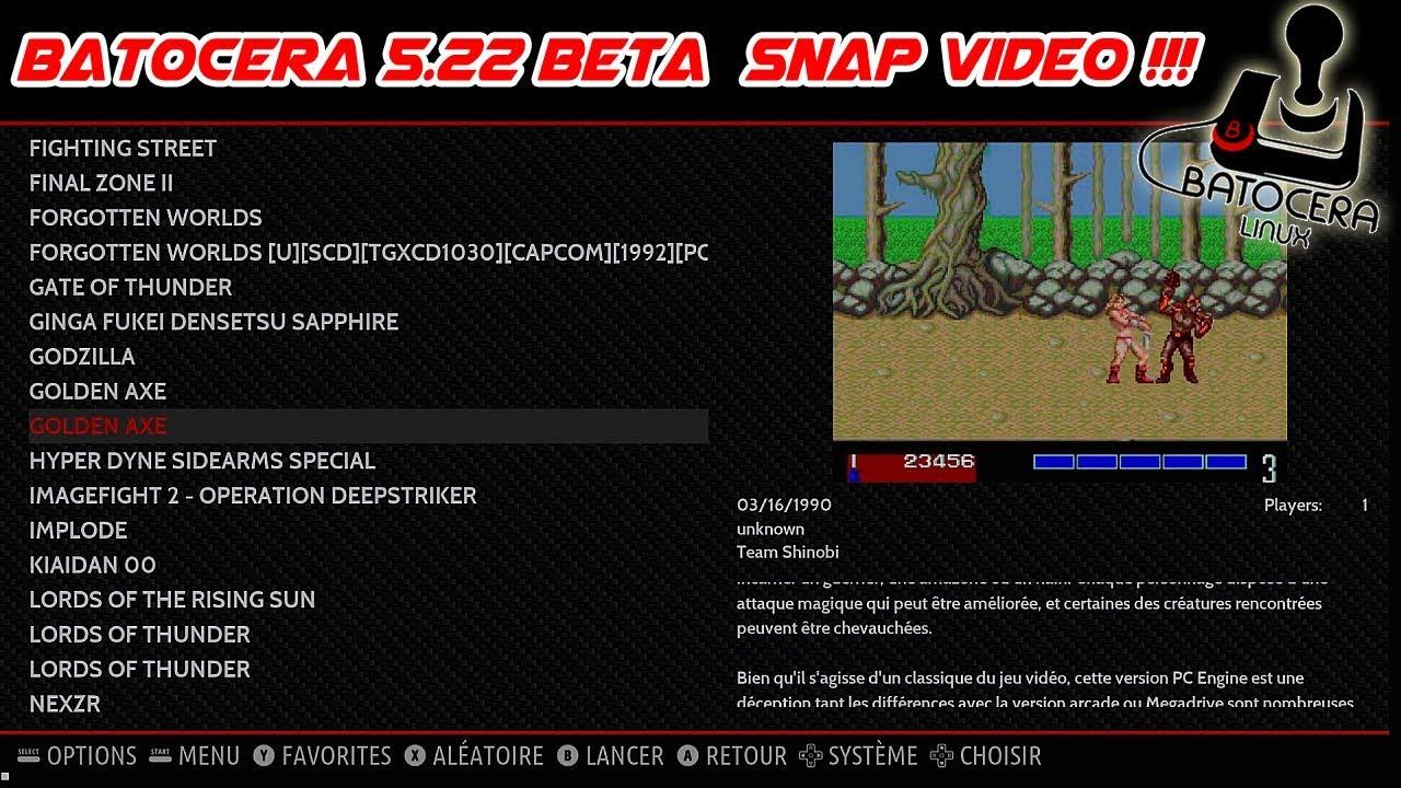 Batocera 5 22 Beta : l'arrivée des snaps video et ES retropie
