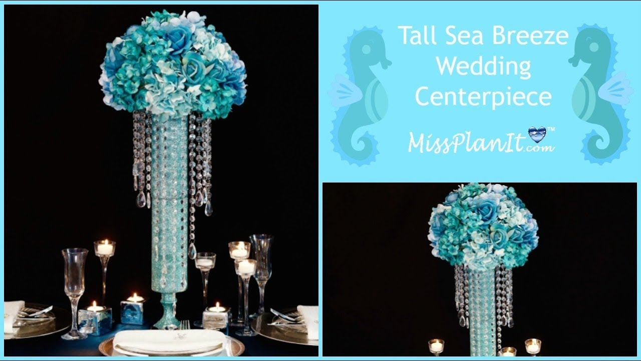 Diy tall sea inspired wedding centerpiece