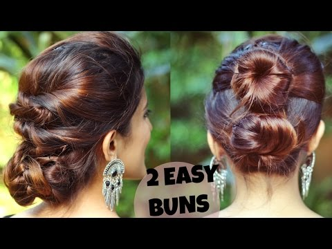 2 Quick Easy Indian Bun Hairstyles For Medium Long Hair For Saree Lehenga No Teasing No Hairspray Youtube