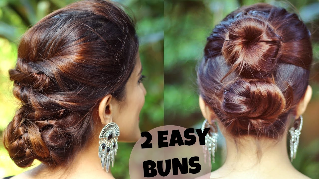 2 quick & easy indian bun hairstyles for medium/long hair for  saree/lehenga/no teasing,no hairspray