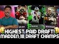 HIGHEST PAID PLAYER DRAFT! NO HANDED INTERCEPTION!? Madden 18 Draft Champions