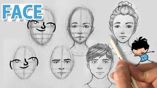 ( ͡° ͜ʖ ͡°)How to draw a face - Front View (Male/Female Drawing Tutorial)