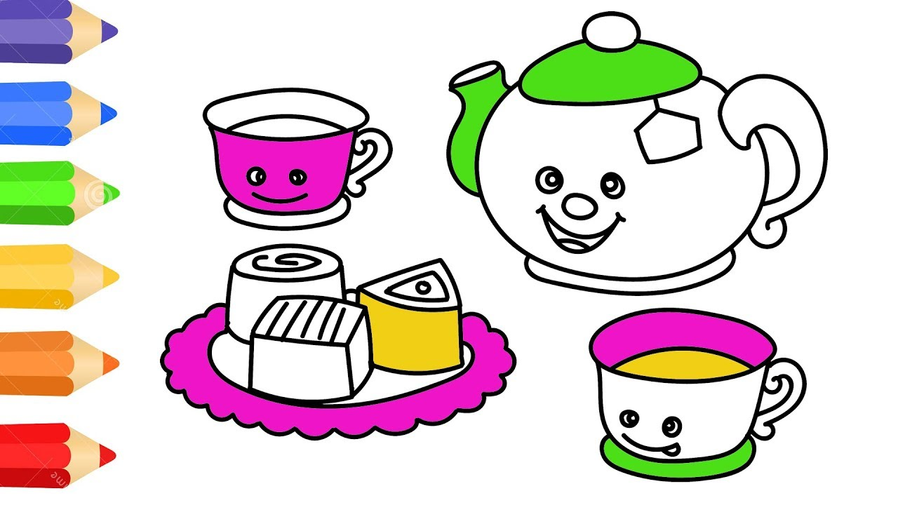 how to draw teapot set w coloring pages for kids art colour for