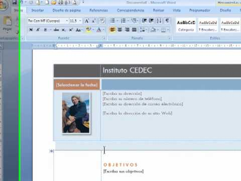 Curriculos Con Word 2007 YouTube