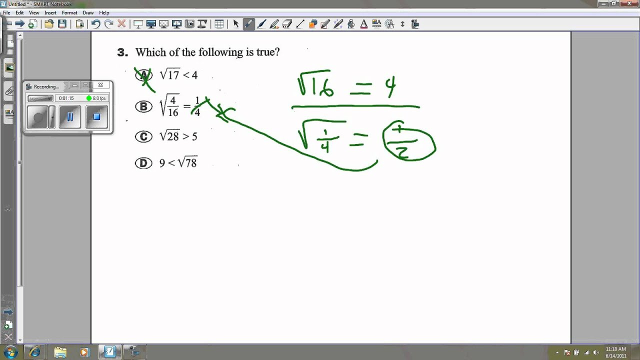 Algebra 2 Workbook Pretest 3 (comparing numbers).wmv - YouTube