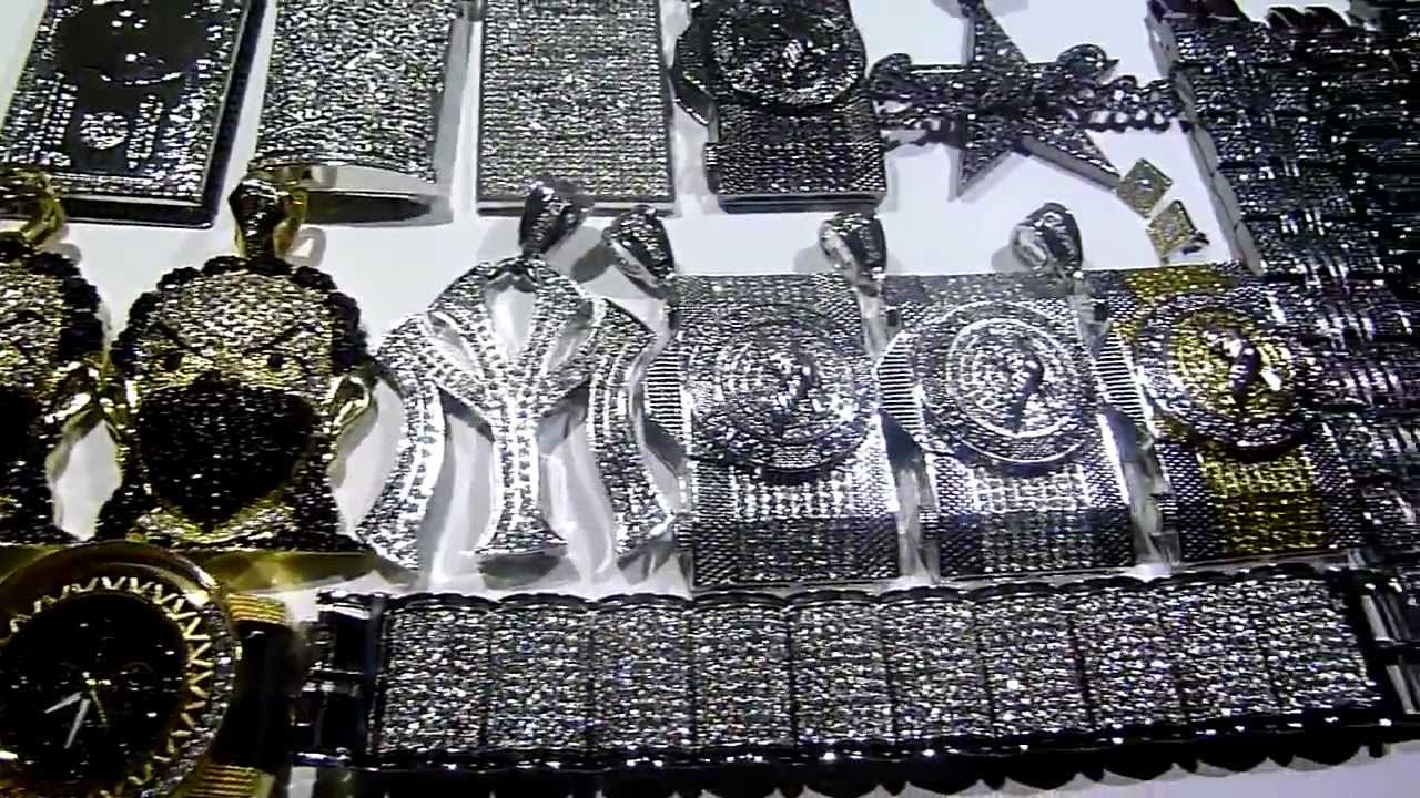 (SOLD)30 piece WHOLESALE DEAL! Rapper Hip-Hop package for only  450!!  Resell! LAB MADE JEWELRY - YouTube c11a4395c