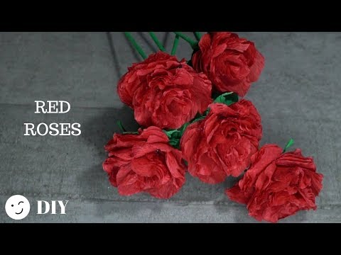 221  Make Paper Flowers Gothic Roses/ DIY Paper Red Roses