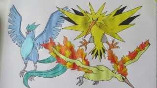 How to draw Pokemon: Legendary Birds No.144 Articuno, No.145 Zapdos, No.146 Moltres