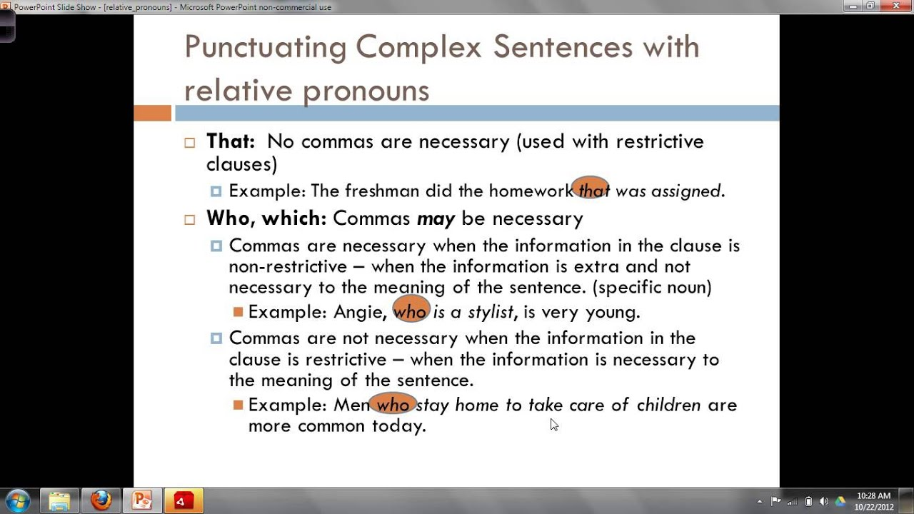 write a complex sentence using a relative pronoun