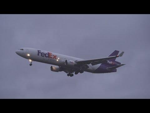 FedEx MD-11 (N608FE) Lands at SeaTac in Rain Storm