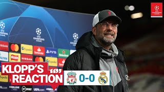 Klopp's Reaction: Jürgen left to rue missed chances | Liverpool vs Real Madrid.