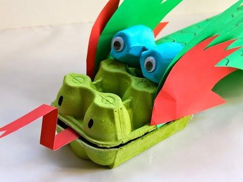 יצירת דרקון מקרטון ביצים