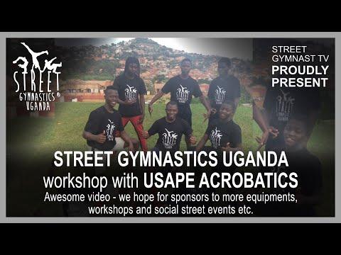 Street Gymnastics Uganda show and workshop with the USAPE children and the Acrobatics