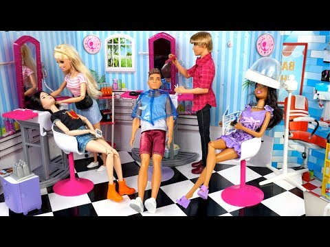 Barbie Beauty Salon Doll Makeover & Ken Barber Shop Toy - Titi Toys Barbie