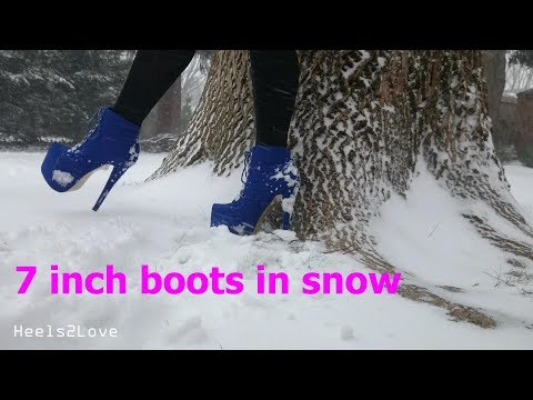 High Heel Booties  7 Inch / 18 Cm In Falling Snow (walking, Slipping And Posing)
