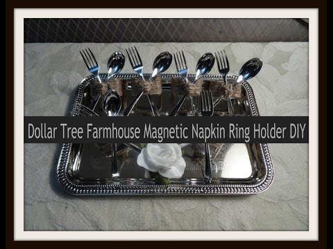 Dollar Tree Farmhouse Magnetic Napkin Ring Holder DIY