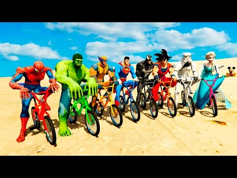 Thumbnail: COLOR BMX BIKE EXTREME CHALLENGE w/ Spiderman, Batman, Hulk Cartoon for Kids and Babies