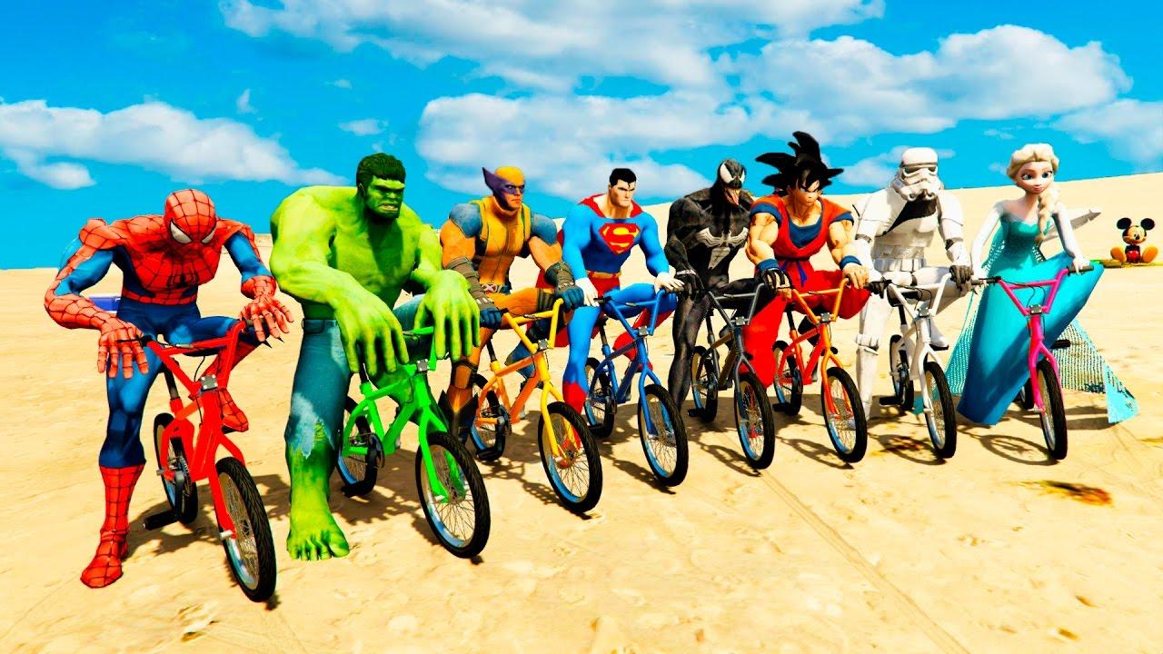 Color Bmx Bike Extreme Challenge W Spiderman Batman Hulk Cartoon For Kids And Babies