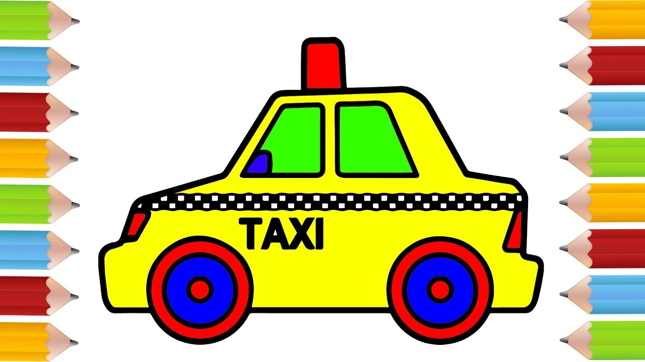 How To Draw Taxi Car Coloring Pages For Kid Drawing And Learn
