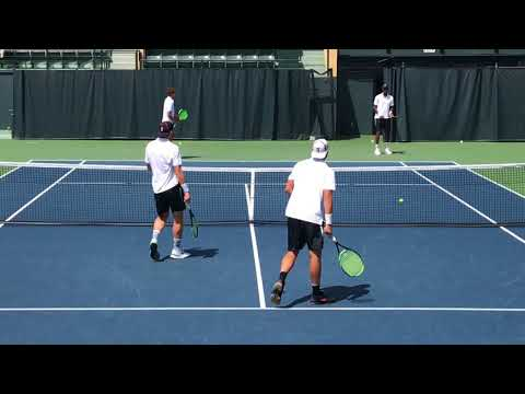 Stanford Men's Tennis Pre-Match Warmup 4-7-18