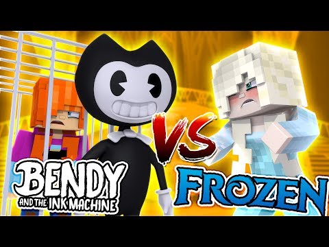 Minecraft BENDY AND THE INK MACHINE V'S FROZEN ELSA - BENDY HAS ANNA IN HIS BASEMENT!!