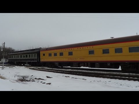 Two Private Cars on Amtrak #6 in Snowy Agency, Iowa