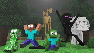 Monster School : SIREN HEAD vs MONSTERS - Horror Minecraft Animation