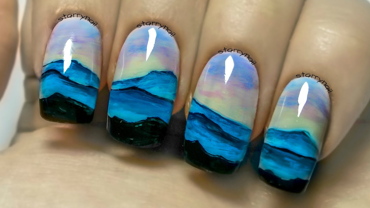 Mountain Landscape Freehand Nail Art Tutorial Youtube