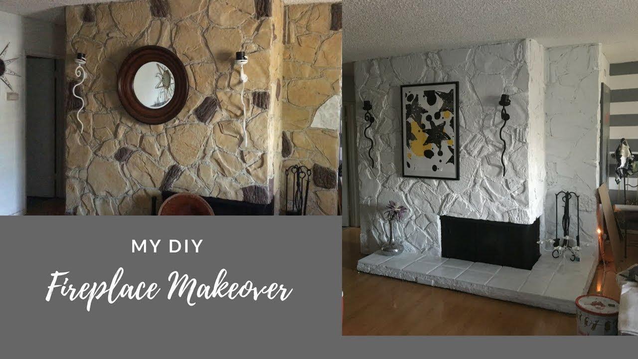 Painting A Rock Fireplace Diy