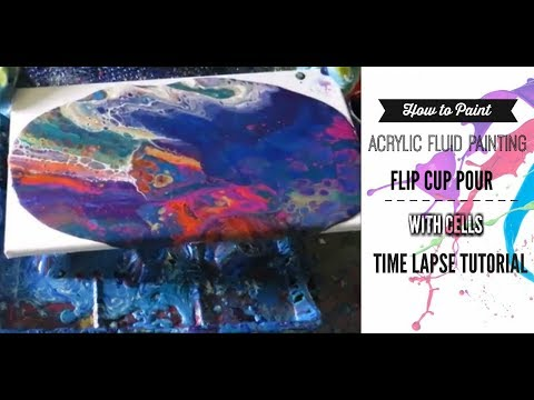 Acrylic Fluid Pour Painting using a Flip Pour technique  painting for beginners Tutorial.#14 Inferno
