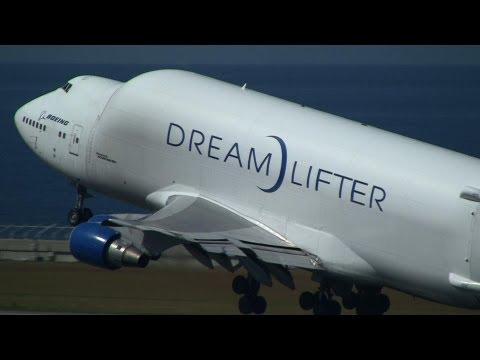Boeing 747-4J6(LCF) Dreamlifter N718BA Take off at Nagoya