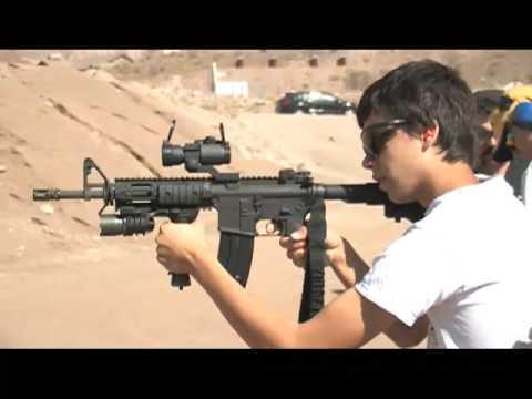14 Year Old Nickolas shooting an M4A1 Assault Rifle