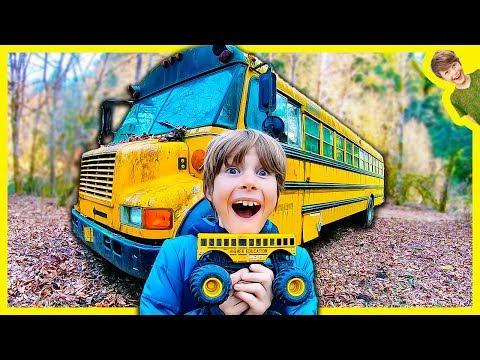 Monster Trucks Explore Abandoned School Bus Youtube