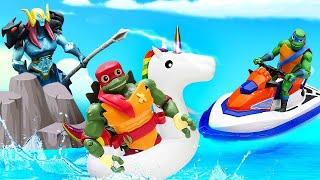 Игры в Черепашки-ниндзя - Машины помощники Bruder на море! - Новые игрушки для мальчиков