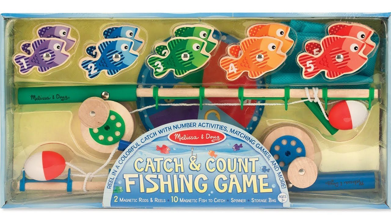 😊 MELISSA AND DOUG Catch and Count FISHING GAME ⭐ WOODEN  (2 Magnetic Rods) Unboxing  ⭐