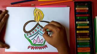 How to draw designer diya step by step very easily for kids