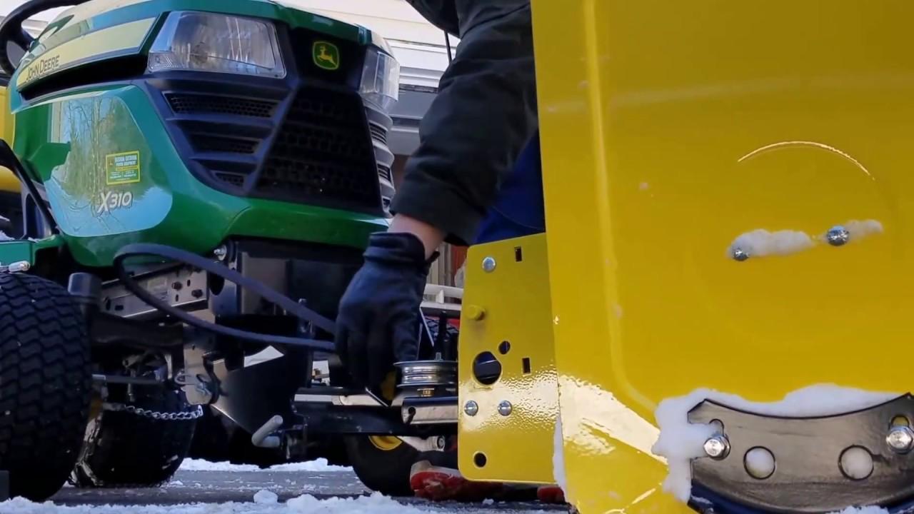how to replace john deere 44 inch snow thrower belt on 300 series tractor [ 1280 x 720 Pixel ]